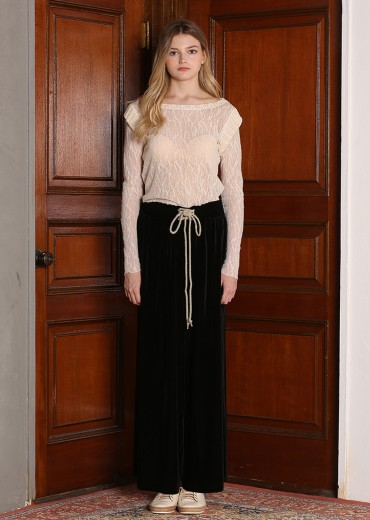 VELVET WIDE LEG LONG PANTS [BLACK]