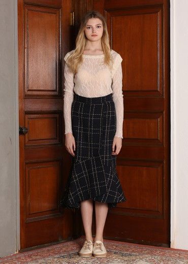 TWEED MUERMAID MIDI SKIRT [NAVY]