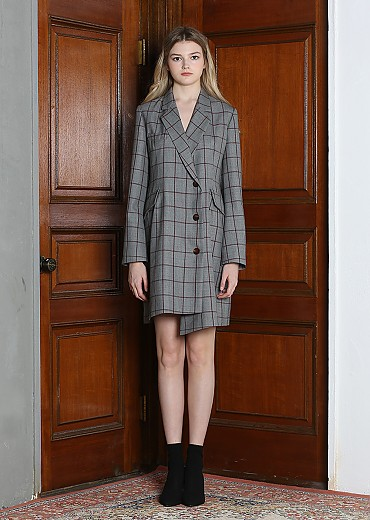 PLAID UNBALANCE JACKET DRESS [GRAY]