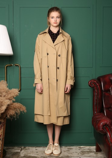 DOUBLE LAYER TRENCH COAT [BEIGE]