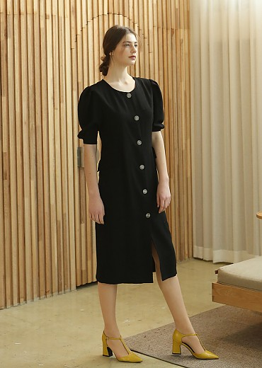 PUFF SLEEVE H-LINE DRESS (BLACK)
