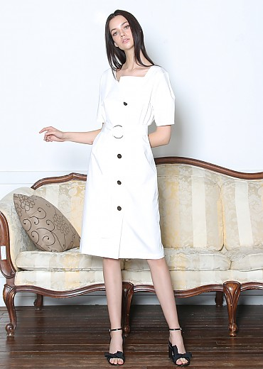 O-RING BELTED COTTON DRESS (WHITE)