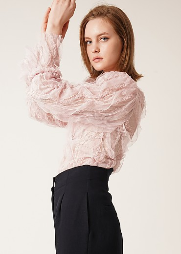 See-through lace wrap blouse (PINK)