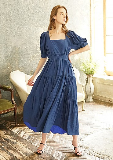 Clarinet Square-neck tiered dress (Blue)