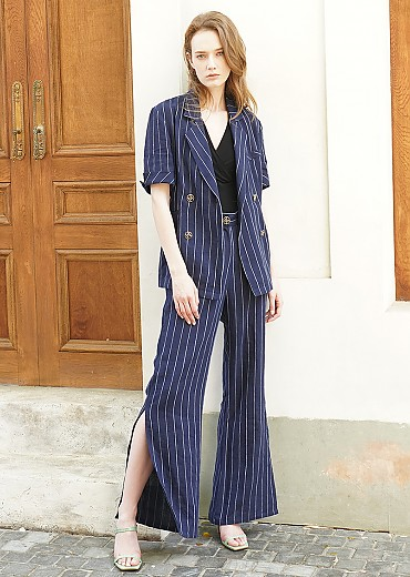 Striped linen double breasted jacket (Navy)