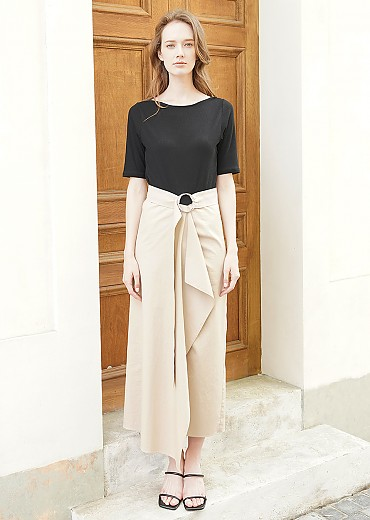 New knit combination draping belted dress